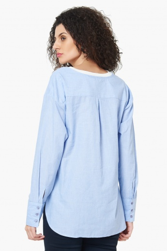 MAX Printed Curved Hem Full Sleeves Top