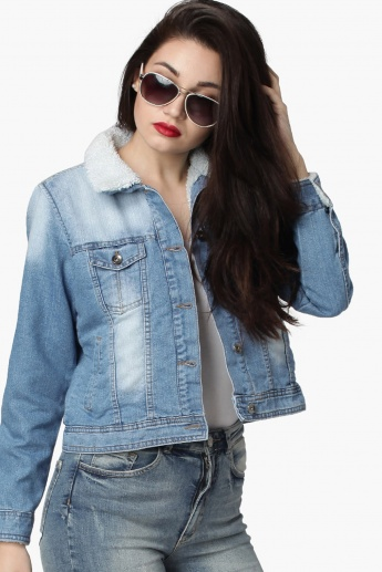 3d8a536b7 MAX Light Wash Full Sleeves Fleece Lining Denim Jacket | Solid