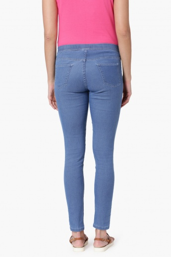 ed986aa665ff5 MAX Solid Ankle Length Jeggings | Blue | Solid