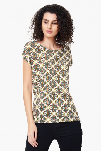 MAX Printed Extended Sleeves Solid Back Top