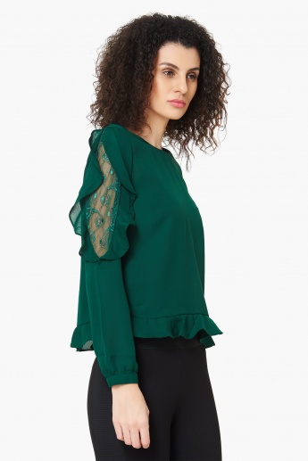 MAX Frilly Lacy Placket Full Sleeves Top