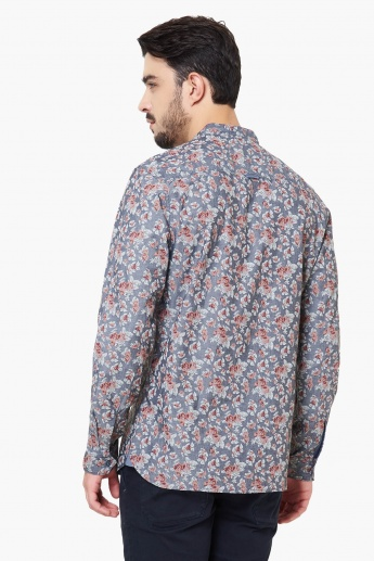 MAX Floral Print Band Collar Shirt