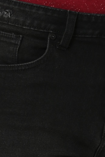 MAX Distressed Patch Detail Dark Wash Jeans