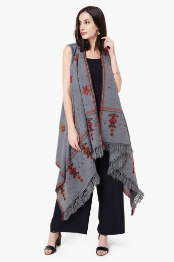 MAX Patterned Woven Front Open Long Koti