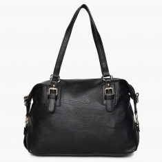 MAX Solid Zip Closure Shoulder Strap Handbag