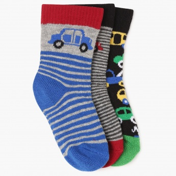 MAX Striped Cotton Blend Socks -Pack Of 3 Pairs