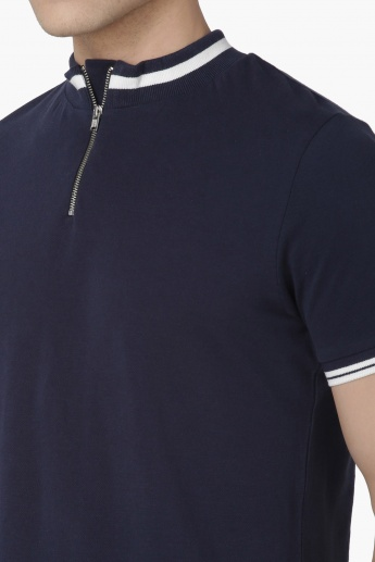 MAX Zip Collar Knitted T-Shirt