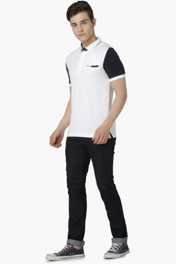 MAX Colour Blocked Sleeves Polo Neck T-shirt