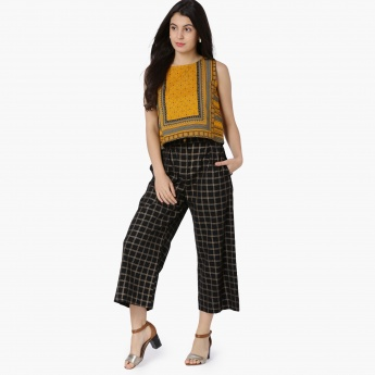 MAX Checked High-Rise Cropped Palazzos