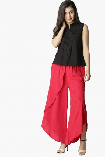 MAX Solid Overlap-Style Palazzos