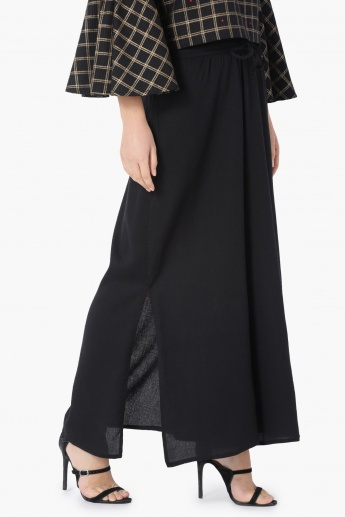 MAX Solid Woven Slit Detail Palazzos