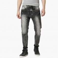 MAX Emboss Printed Carrot Fit Jeans