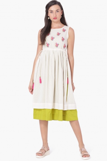 MAX Embroidered Layered Cinched Waist Dress