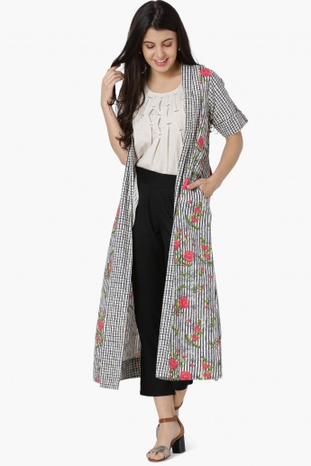 MAX Printed Front-Open Long Shrug