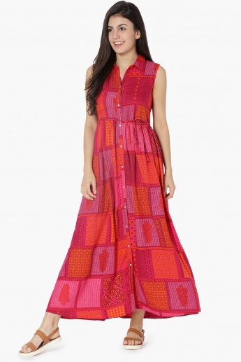 0eab648bd528 MAX Printed Buttoned Tie-Up Waist Maxi Dress | Pink | Printed