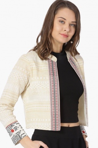 MAX Patterned Band Collar Front-Open Jacket