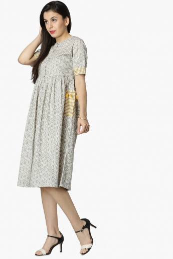 MAX Printed Half Sleeves Pocket Detail Midi Dress