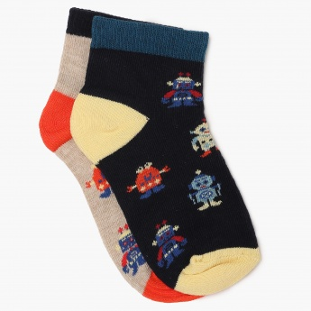 MAX Patterned Cotton Blend Socks -Pack Of 2 Pairs
