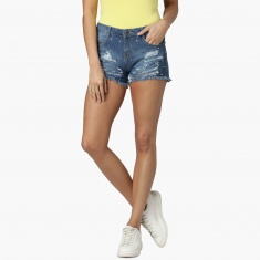 MAX Distressed Denim Fringed Shorts