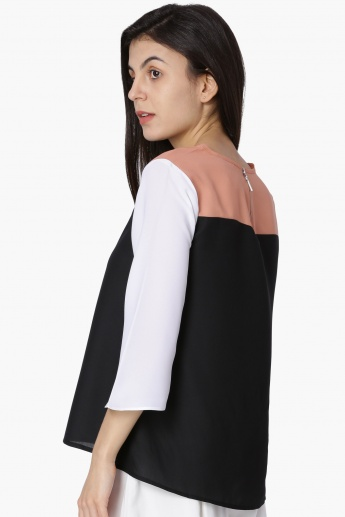 MAX Colourblocked Three-Quarter Sleeves Top