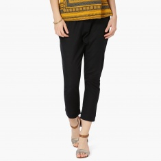 MAX Solid Woven Slip-On Cropped Trousers