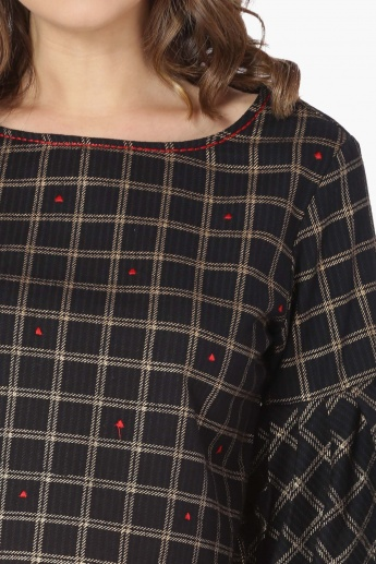 MAX Checked Bell Sleeves Top