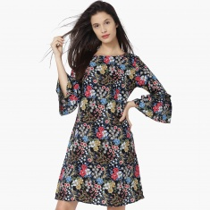 MAX Floral Print Flared Sleeves Shift Dress