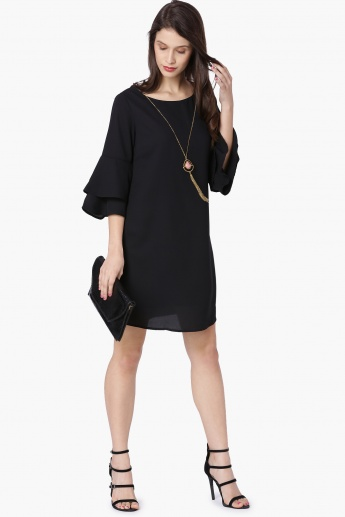 MAX Solid Layered Flared Sleeves Shift Dress