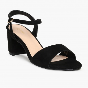 e9635eab5b MAX Solid Ankle Strap Block Heel Sandals | Black | Synthetic