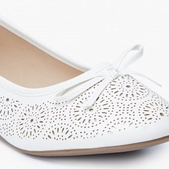 MAX Laser Cut-Out Bow Detail Ballerinas