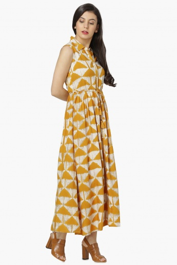 MAX Block Print Sleeveless Maxi Dress
