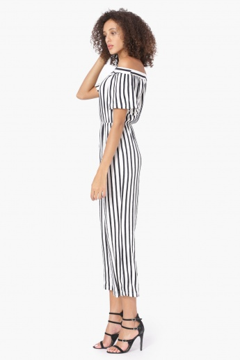 MAX Striped Off-Shoulder Jumpsuit