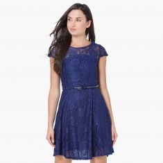 MAX Lace Overlay Belted Cap Sleeves Fit And Flare Dress
