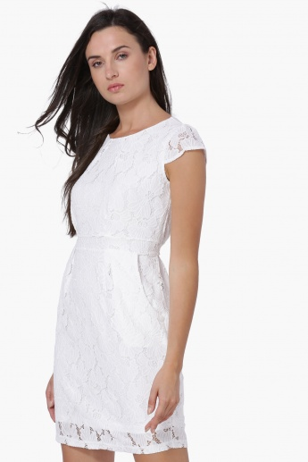 MAX Lace Overlay Pleated Cap Sleeves Sheath Dress