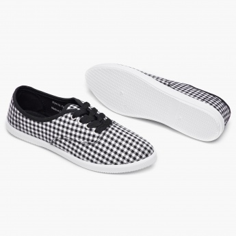 MAX Checked Lace-Up Canvas Shoes
