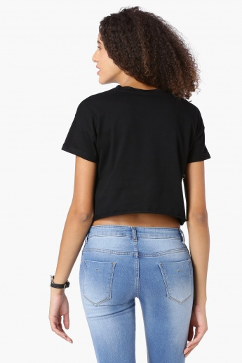 MAX Printed Frayed Hem Cropped Top
