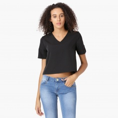 MAX Solid V-Neck Cropped Top