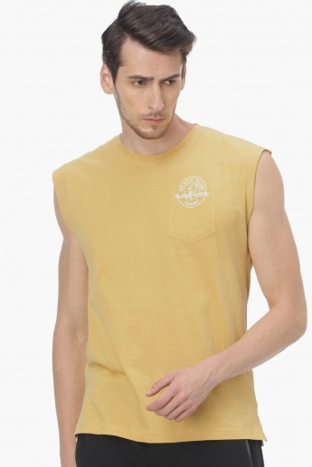 6ff380d5b71c9 MAX Patch Pocket Printed Muscle T-Shirt | Yellow | Printed