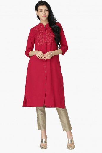 MAX Embroidered Roll-Up Sleeves Shirt Kurta
