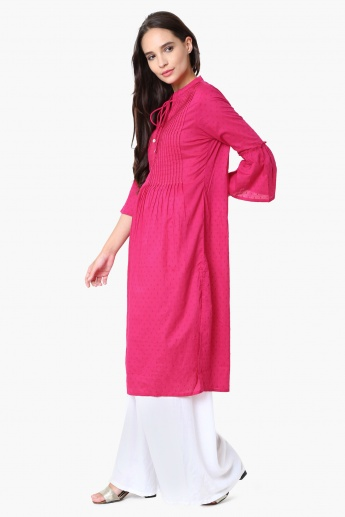 MAX Textured Band Collar Pin-Tucked Kurta