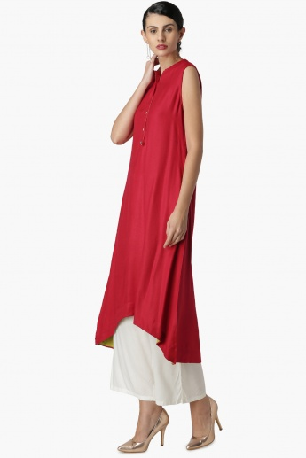 MAX Solid Band Collar Buttoned High-Low Kurta
