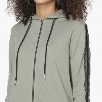 MAX Lace Trim Zip-Up Hooded Sweatshirt