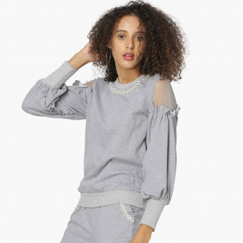 MAX Pearl-Like Detail Bishop Sleeves Sweatshirt