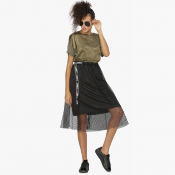 MAX Mesh Layered Tape Detail Midi Skirt