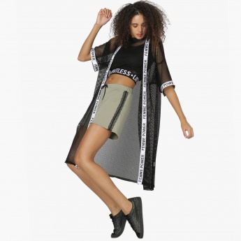 MAX Tape Detail Mesh Layered Long Shrug