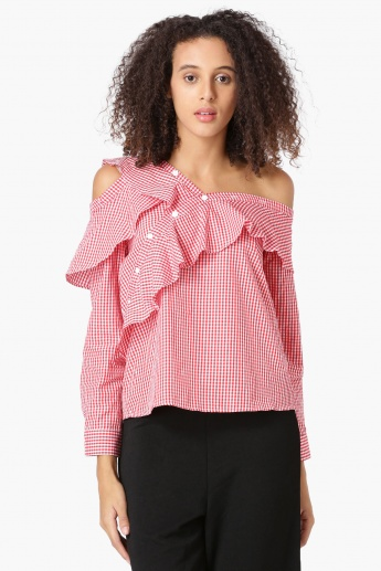 ed7f26e221d08c MAX Checkered Cold Shoulder Asymmetrical Sleeves Shirt