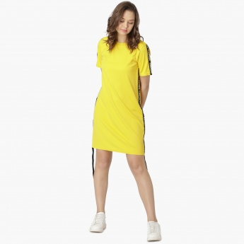 93e676a09 MAX Solid Tape Detail Long T-Shirt Dress | Yellow | Solid