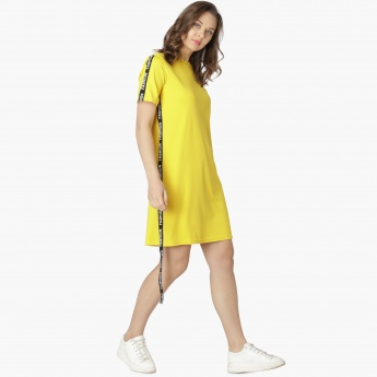 1e7dc3890f MAX Solid Tape Detail Long T-Shirt Dress