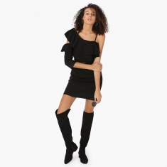 MAX Solid Ruffle Layered Asymmetrical Sleeves Dress