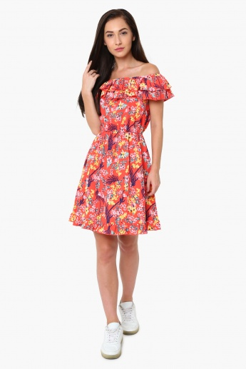 0c28ee3cf924 MAX Floral Print Off-Shoulder Fit And Flare Dress
